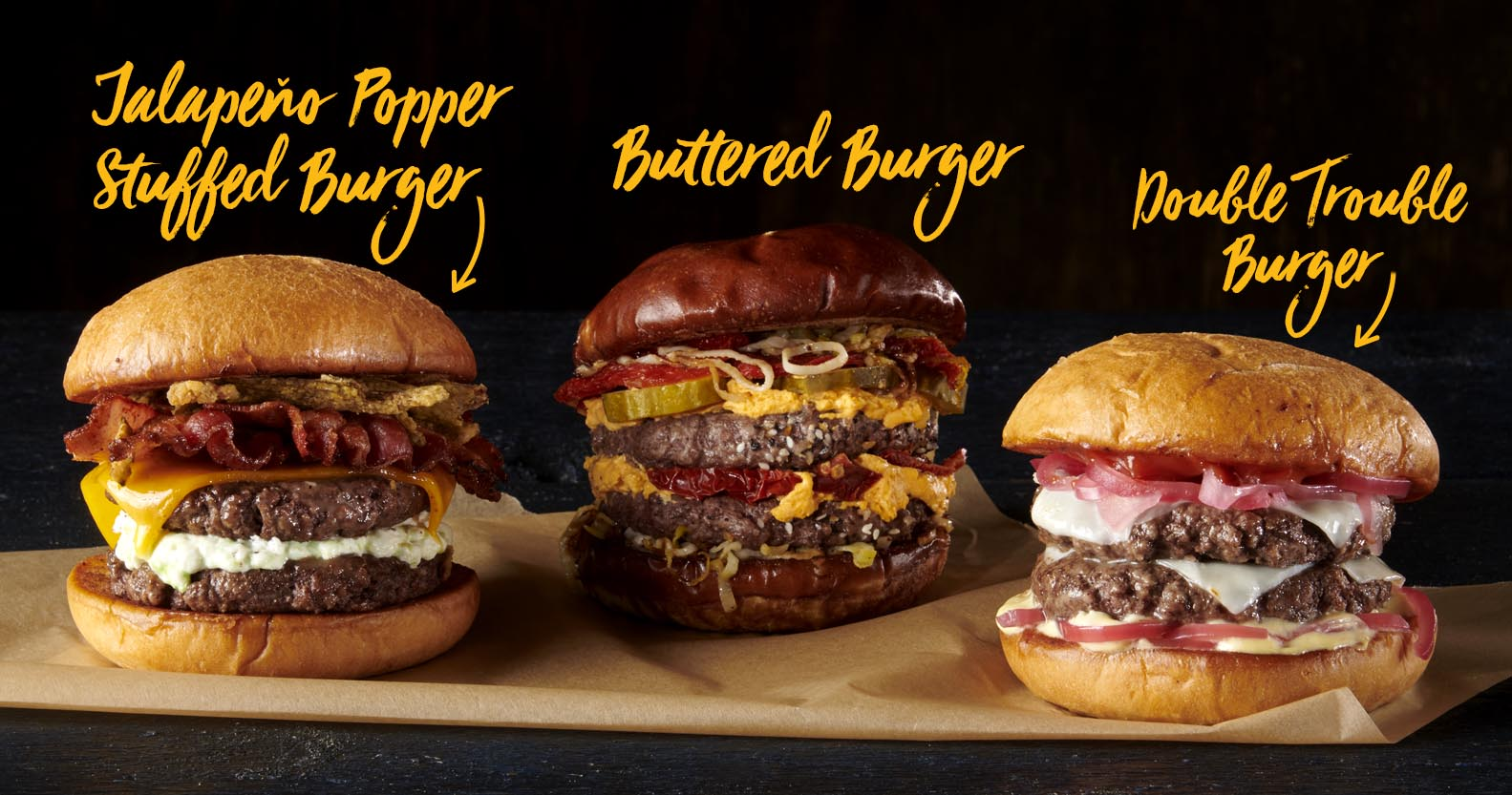 Jalapeno popper stuffed burger, buttered burger, double trouble burger