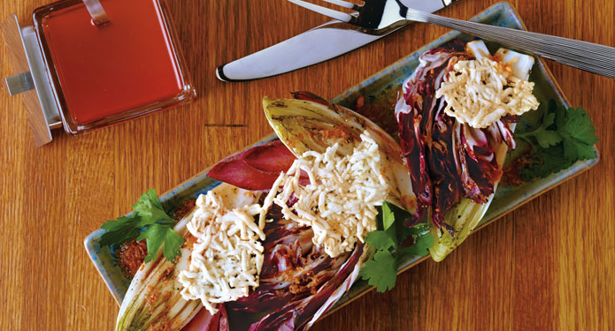 Grilled Chicories With Nduja Vinaigrette
