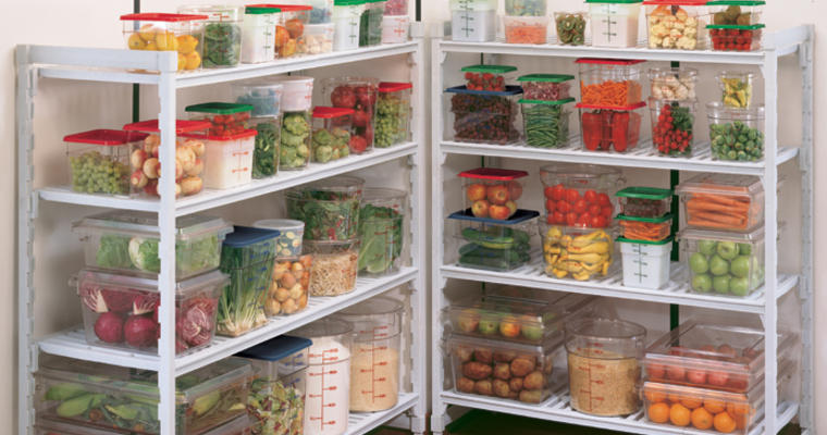Healthy food on shelves